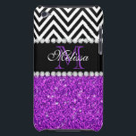 "PURPLE GLITTER BLACK CHEVRON MONOGRAMMED BARELY THERE iPod CASE<br><div class=""desc"">GIRLY MODERN PURPLE GLITTER (PRINTED EFFECT) WITH BLACK AND WHITE CHEVRON PATTERN,  MONOGRAMMED WITH YOUR NAME,  YOUR INITIAL OR MONOGRAM ON A BLACK STRIPE OR BAND WITH A BORDER OF PRINTED WHITE DIAMONDS. TRENDY,  CHIC,  COOL CUTE DESIGN FOR HER,  THE TRENDSETTER,  THE FASHIONISTA</div>"