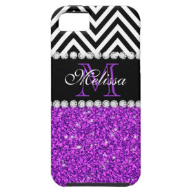 PURPLE GLITTER BLACK CHEVRON MONOGRAMMED iPhone 5 CASE