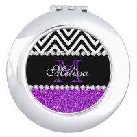 PURPLE GLITTER BLACK CHEVRON MONOGRAMMED COMPACT MIRROR