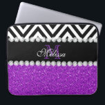 "PURPLE GLITTER BLACK CHEVRON MONOGRAMMED COMPUTER SLEEVE<br><div class=""desc"">MODERN GIRLY,  PURPLE GLITTER (PRINTED EFFECT) WITH BLACK AND WHITE CHEVRON PATTERN,  MONOGRAMMED WITH YOUR NAME,  YOUR INITIAL OR MONOGRAM ON A BLACK STRIPE OR BAND WITH A BORDER OF PRINTED WHITE DIAMONDS. TRENDY,  CHIC COOL CUTE DESIGN FOR HER,  THE TRENDSETTER,  THE FASHIONISTA</div>"