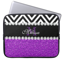 PURPLE GLITTER BLACK CHEVRON MONOGRAMMED COMPUTER SLEEVE