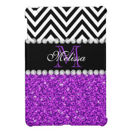 PURPLE GLITTER BLACK CHEVRON MONOGRAMMED iPad MINI CASE