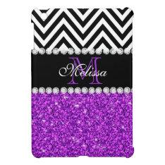 Purple Glitter Black Chevron Monogrammed Ipad Mini Cover at Zazzle