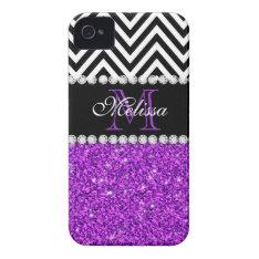 Purple Glitter Black Chevron Monogrammed Iphone 4 Cover at Zazzle