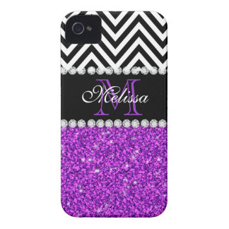 PURPLE GLITTER BLACK CHEVRON MONOGRAMMED iPhone 4 COVER