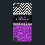 "PURPLE GLITTER BLACK CHEVRON MONOGRAMMED iPod TOUCH (5TH GENERATION) COVER<br><div class=""desc"">GIRLY MODERN PURPLE GLITTER (PRINTED EFFECT) WITH BLACK AND WHITE CHEVRON PATTERN,  MONOGRAMMED WITH YOUR NAME,  YOUR INITIAL OR MONOGRAM ON A BLACK STRIPE OR BAND WITH A BORDER OF PRINTED WHITE DIAMONDS. TRENDY,  CHIC,  COOL CUTE DESIGN FOR HER,  THE TRENDSETTER,  THE FASHIONISTA</div>"