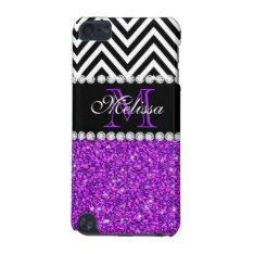 Purple Glitter Black Chevron Monogrammed Ipod Touch (5th Generation) Cover at Zazzle