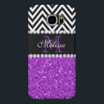 "Purple Glitter Black Chevron Monogrammed Samsung Galaxy S6 Case<br><div class=""desc"">GIRLY MODERN PURPLE GLITTER (PRINTED EFFECT) WITH BLACK AND WHITE CHEVRON PATTERN,  MONOGRAMMED WITH YOUR NAME,  YOUR INITIAL OR MONOGRAM ON A BLACK STRIPE OR BAND WITH A BORDER OF PRINTED WHITE DIAMONDS. TRENDY,  CHIC,  COOL CUTE DESIGN FOR HER,  THE TRENDSETTER,  THE FASHIONISTA</div>"