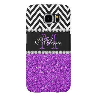 Purple Glitter Black Chevron Monogrammed Samsung Galaxy S6 Case
