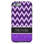 Purple Glitter Black Chevron Tough iPhone 6 Case
