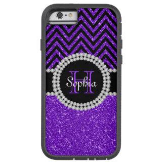 Purple Glitter Black Chevron Xtrem iPhone 6 Case 6