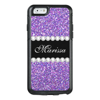 Purple Glitter Black Otterbox iPhone 6/6s Case