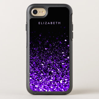 Purple Glitter Black Trendy Modern Chic Cool OtterBox Symmetry iPhone 8/7 Case