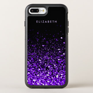 Purple Glitter Black Trendy Modern Chic Cool OtterBox Symmetry iPhone 8 Plus/7 Plus Case
