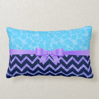 Purple Glitter Blue Chevron Blue Damasks Throw Pillow