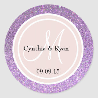 Purple Glitter & Blush Pink Wedding Monogram Classic Round Sticker