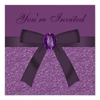 Purple Glitter, Bow & Amethyst Invites