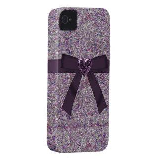 Purple Glitter, Bow & Heart Jewel iPhone 4/4S iPhone 4 Case-Mate Case