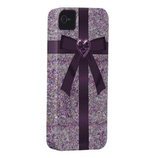 Purple Glitter, Bow & Heart Jewel iPhone 4/4S iPhone 4 Cases