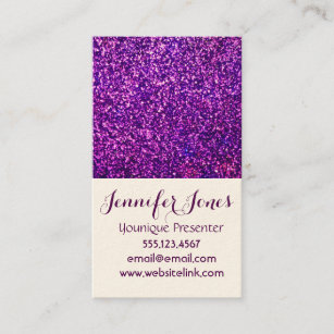 purple glitter business cards - Younique Business Cards