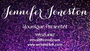 purple glitter business cards presenter cards - Younique Business Cards