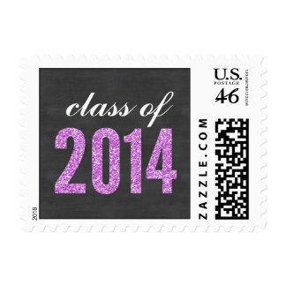 Purple Glitter Chalkboard Class of 2014 Graduation Stamp