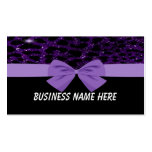Purple Glitter Cheetah With Bow Business Card