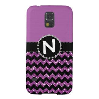 Purple Glitter Chevron, Diamond Ribbon Galaxy S5 Cases For Galaxy S5