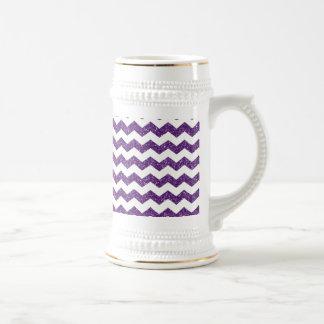 Purple glitter chevrons 18 oz beer stein