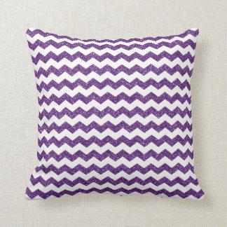 Purple glitter chevrons throw pillows