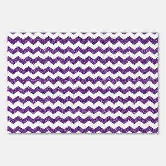 Purple glitter chevrons sign