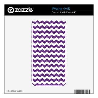 Purple glitter chevrons skin for iPhone 4S