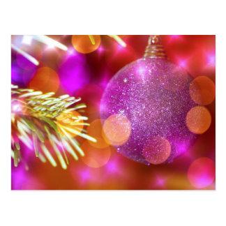Purple Glitter Christmas Bauble Ball Bokeh Postcard