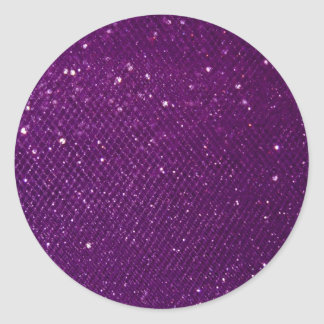 Purple Glitter Classic Round Sticker