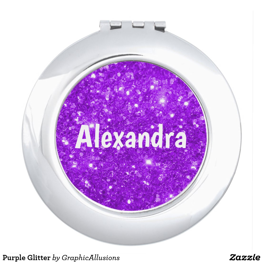 Purple Glitter Compact Mirror