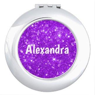 Purple Glitter Compact Mirror