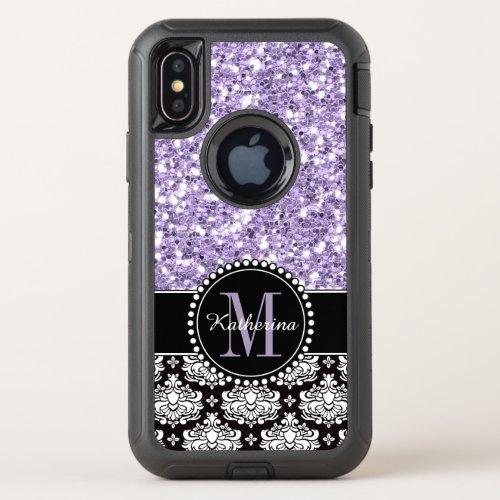 Purple Glitter Damask Personalized Monogrammed Phone Case