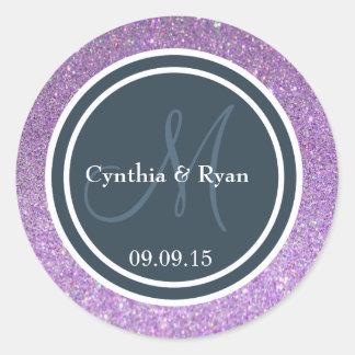 Purple Glitter & Dark Blue Gray Wedding Monogram Stickers
