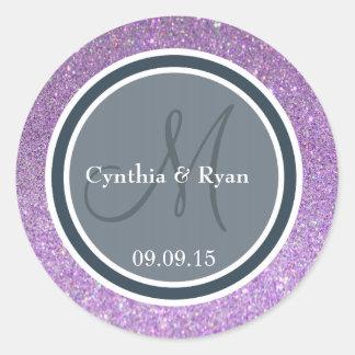 Purple Glitter & Dark Blue Gray Wedding Monogram Round Stickers