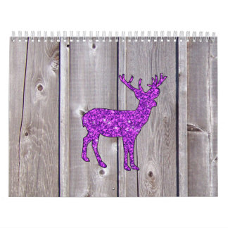 PURPLE GLITTER DEER ON RUSTIC WOOD PANEL CALENDAR