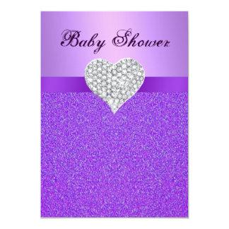 Purple Glitter Diamond Heart Baby Shower Invite