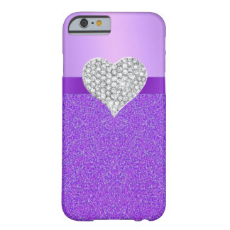 Purple Glitter Diamond Heart iPhone 6 Case