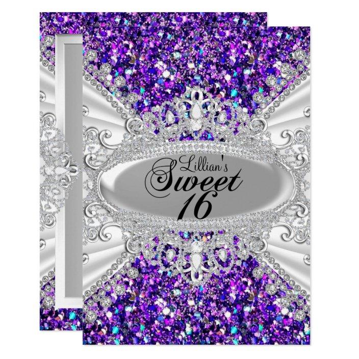 Purple Glitter Diamond Tiara Sweet 16