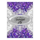 Purple Glitter & Diamond Tiara Sweet 16 Invite
