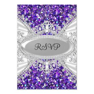 Purple Glitter Diamond Tiara Sweet 16 RSVP 2 Card