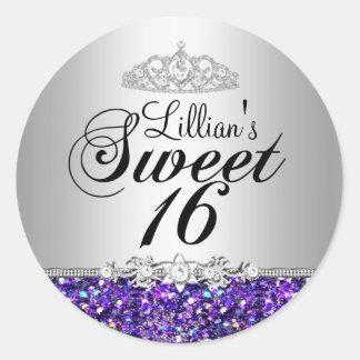 Purple Glitter & Diamond Tiara Sweet 16 Sticker