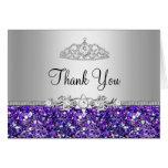 Purple Glitter & Diamond Tiara Thank You Card