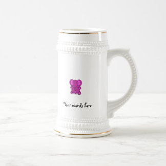 Purple glitter elephant 18 oz beer stein