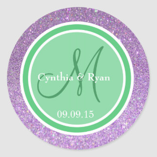Purple Glitter & Emerald Green Wedding Monogram Classic Round Sticker