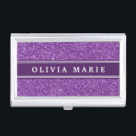 """Purple Glitter (faux) Personalized Name Case For Business Cards<br><div class=""""desc"""">Cute,  girly,  trendy,  faux purple glitter graphic pattern background with a dark purple and white stripe nameplate featuring a name template.</div>"""